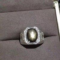 Натуральный Черный Starlight кольцо с сапфиром природных драгоценных камней кольцо S925 серебро ретро большой площади Для мужчин мужской подарок