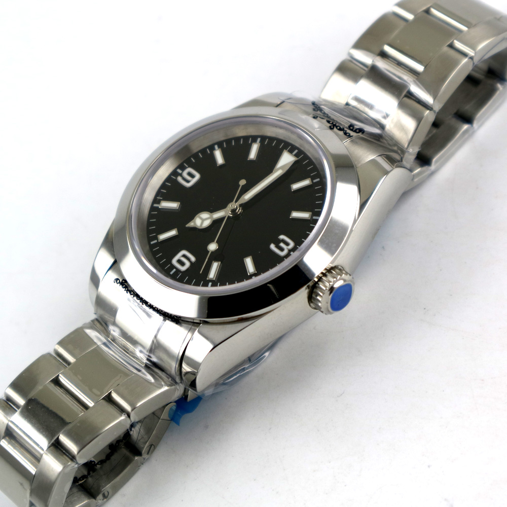 Image 5 - Parnis Sapphire Glass black Sterile Dial 40mm Automatic Men Watch-in Mechanical Watches from Watches