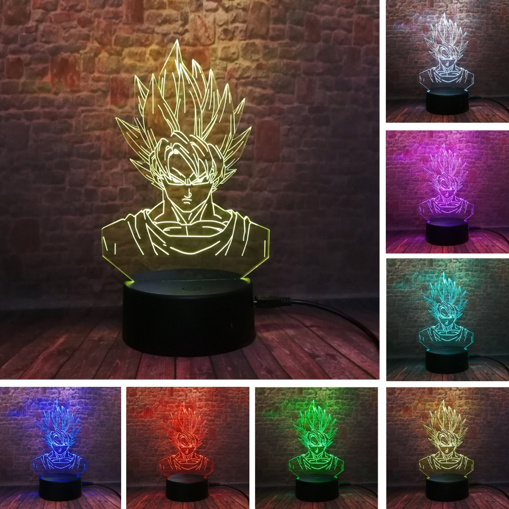 Dragon Ball Super Saiyan God Goku Action Figures 3D Illusion Table Lamp 7 Color Changing Night Light Boys Child Kids Baby Gifts