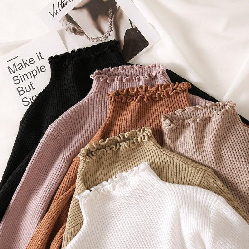 Rollkragen Geraffte Frauen Pullover Hohe Elastische Solid 2019 Herbst Winter Mode Pullover Frauen Nehmen Sexy Strick Pullover Rosa Weiß