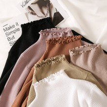 Turtleneck Ruched Women Sweater High Elastic Solid 2019 Fall Winter Fashion Sweater Women Slim Sexy Knitted Pullovers Pink White