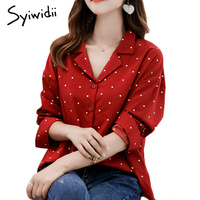 Chiffon Blouse Women Polka Dot Red Blouse Womens Tops and Blouses Vintage Long Sleeve Shirt 2018 High Quality V Neck Brand Shirt