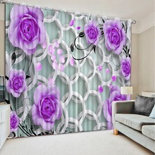 High quality luxury curtains 3d curtains custom rose living room curtains bedroom curtains CL-DLM819