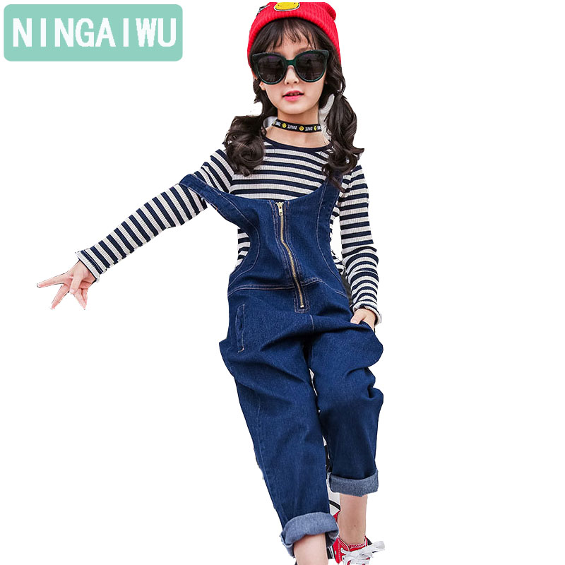 Children girls denim overalls suit new spring 3-14 T teenage sets baby child stripe long sleeve t-shirt two-piece girls outfit