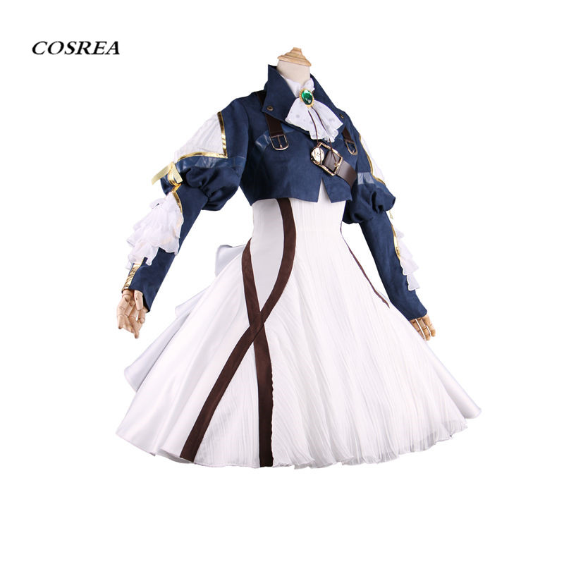 COSREA Japanese Anime Violet Evergarden Cosplay Costume Lovely Full Set Costumes Headwear Blonde Hair Red Ribbon For Adult Woman