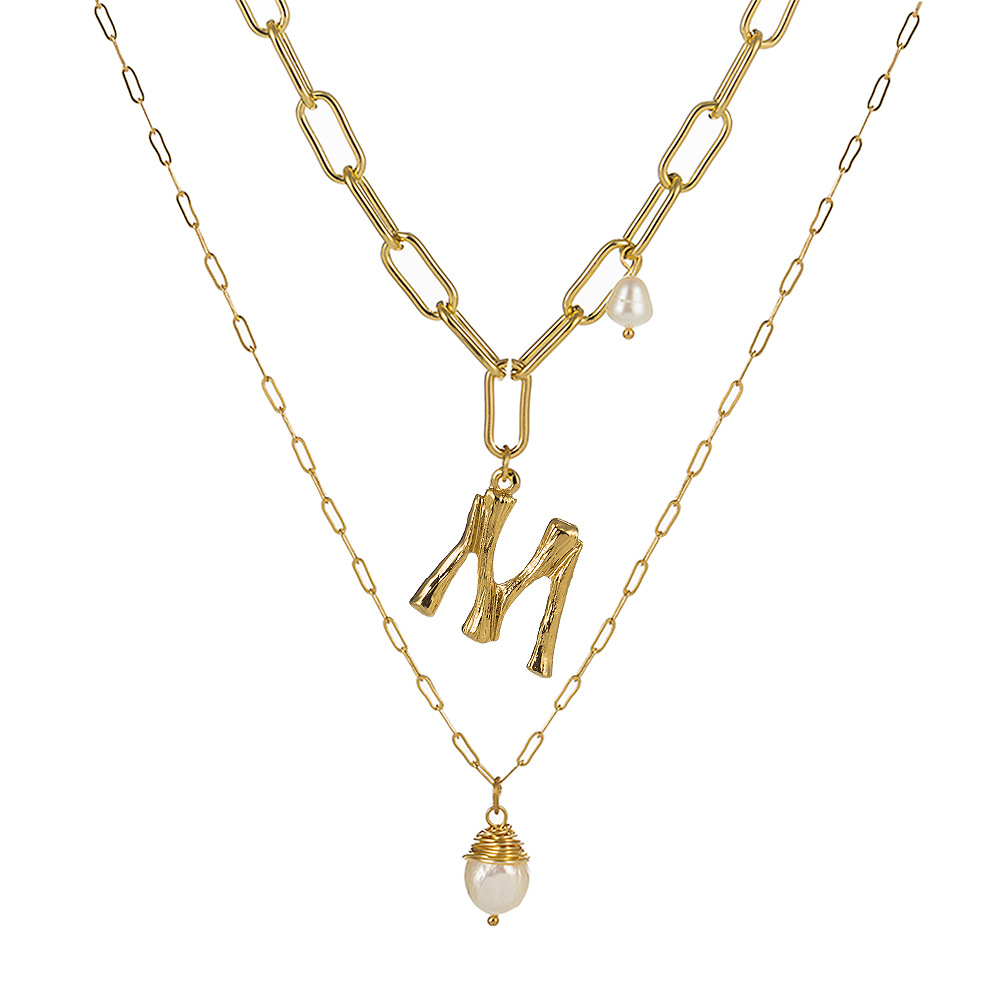 Natural Freshwater Baroque Pearl Pendant Necklace For Women Gold Color 26 A-Z Big Letter Name Initial Necklaces(China)