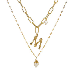 Natural Freshwater Baroque Pearl Pendant Necklace For Women Gold Color 26 A-Z Big Letter Name Initial Necklaces