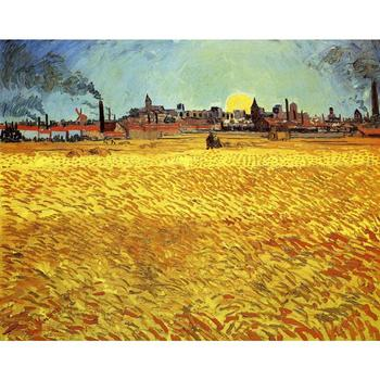 Sunset at Wheat Field by Vincent Van Gogh Reproduction oil painting Canvas art Handmade High quality