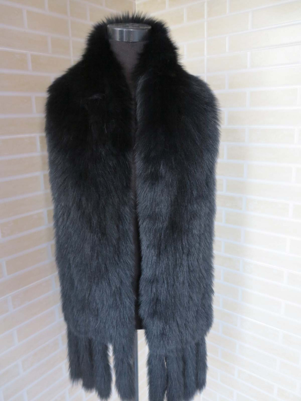 2016 Braid Real fox fur premium quality black big size 185 20cm scarf cape collar SHIPPING