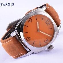 47mm PARNIS ST3600 movimiento mejor calidad reloj de los hombres Mecánicos Mano de Viento reloj De Lujo limitada