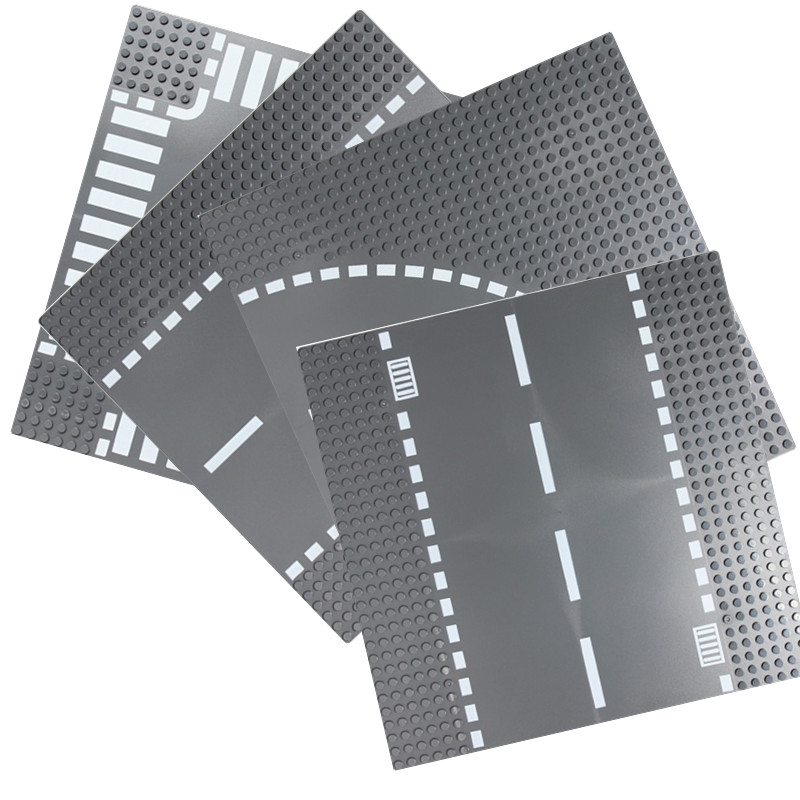 Road Base Plate Compatible LegoINGlys City Block Straight Crossroad Curve T-Junction Building Blocks Parts Bricks Baseplate Toys