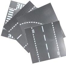 Placa Base de carretera Compatible LegoINGlys bloque de la ciudad curva recta de cruce T-Unión bloques de construcción piezas de ladrillos placa Base Juguetes