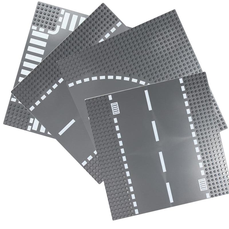 Road Plate Straight Crossroad Curve T Junction Building Blocks Parts Bricks Base Compatible Legoe City Blocks