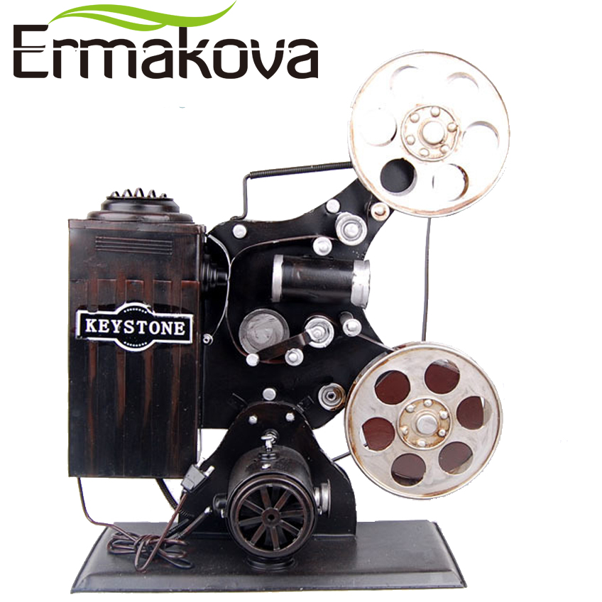 ERMAKOVA Handmade Metal Handicrafts Crafts Retro Vintage Classic Film Projector Bioscope Model Prop for Gift Home