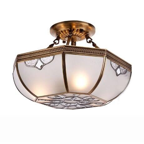 Freies Verschiffen 16 Kupfer Deckenleuchte Schlafzimmer Wohnzimmer Vintage Edlen Carving Glas Lampenschirm Deckenleuchten