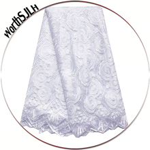 Latest African Laces 2018 High Quality Nigerian White Lace Fabric Fushia Pink French Net Swiss Material
