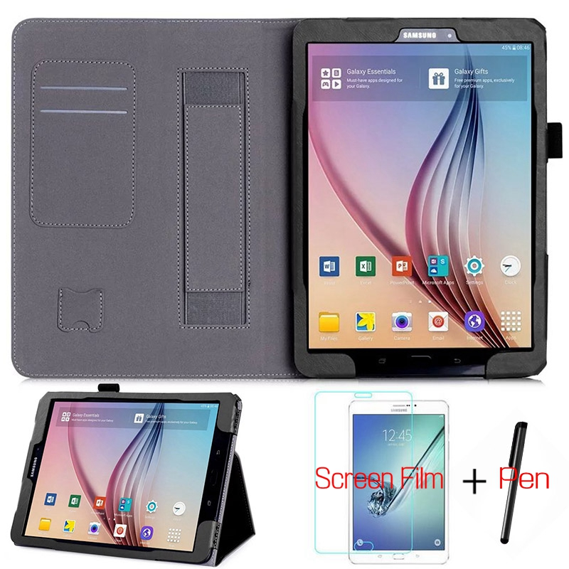 Luxury Stand Folding Smart PU Leather Cover for Sasmung Galaxy Tab T820 T825 S3 9.7 Tablet Fund Case+Free Screen Protector+Pen luxury flip stand case for samsung galaxy tab 3 10 1 p5200 p5210 p5220 tablet 10 1 inch pu leather protective cover for tab3
