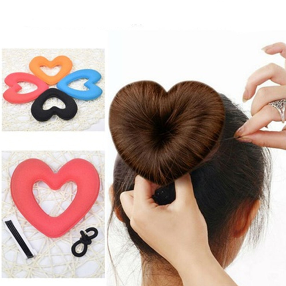 1PC Cute Heart Shape Tiaras Hair styling Tool Women Girls Sponge Bract Head Meatball Hair Bun Maker Ring Donut 00009 red gold bride wedding hair tiaras ancient chinese empress hair piece