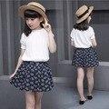 Ropa de las muchachas fija blusa blanca + falda tutú floral de moda para niños ropa para niños de verano adolescente traje de reventa de edad 11 12 13