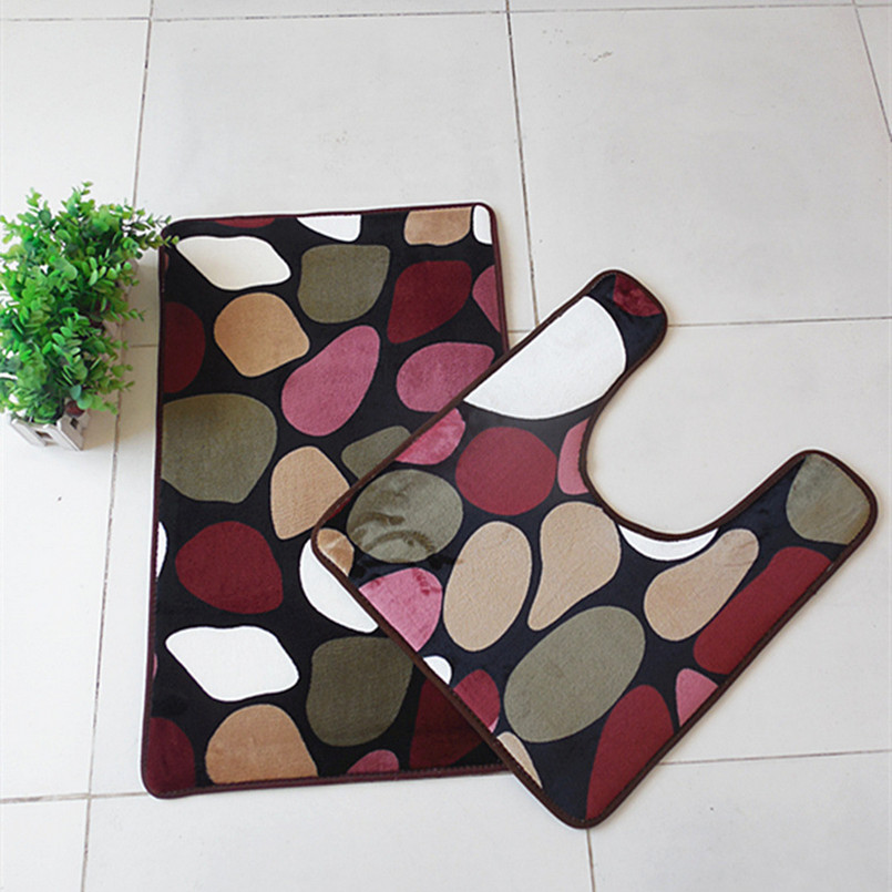 Suede 2 Pcs/set bathroom mats and u shaped toilet mats,water adsorption anti-slip carpet super soft u shaped toilet mats