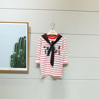 2017 Spring Autumn Kids Girls Stripe College Style Casual T-shirt with Letters Printed