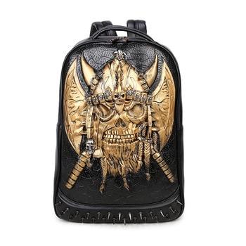 3D Pirate Captain Skull lifelike Embossing Rivet Black Satchel Backpack Punk Halloween Cool Leather laptop Travel Soft Bags