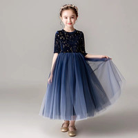 Children Girls Winter Warm Evening Party Piano Host Pageant Princess Prom Dress Kids Toddler Fashion Half Sleeves Birthday Dress