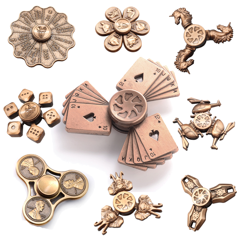 Red copper Fidget Spinner Finger ABS EDC Hand Spinner Tri For Kids Autism ADHD Anxiety Stress