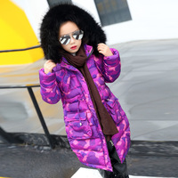 Thick Purple Camouflage Winter Jacket For Girls Long Outwears Cotton Padded Fur Hooded Winter Coat Girls