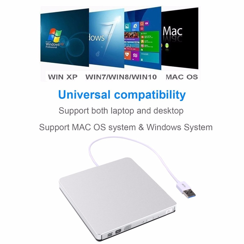 USB 3.0 External CD/DVD ROM Optical Drive Burner dvd/cd-rw Drive Writer Recorder Portatil for Laptop Computer pc Windows 7/8