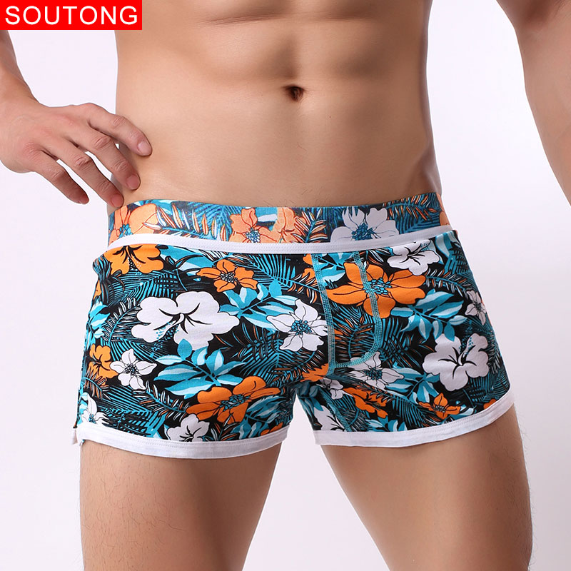 Soutong 3Pcs/lot Brand Sexy Men Underwear Comfortable Loose Trunks Cueca Cotton Boxer Shorts Fashion Print Man Home Underpants
