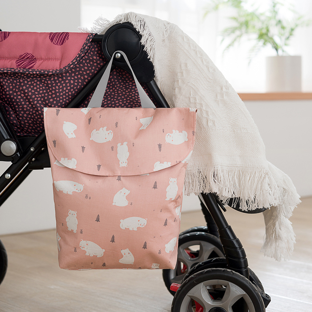 Grey Stripe Wet or Dry Clothes Swimwear Baby Diaper Bag with Dual Zipper Reusable Baby Cloth Wet Dry Bag for Traveling
