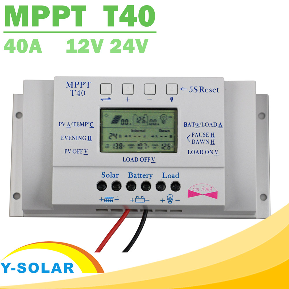 MPPT T40 40A Solar Charge Regulator 12V 24V Auto LCD Display Controller with Load Dual Timer Control for Street Light System 20a 12 24v solar regulator with remote meter for duo battery charging