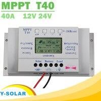 Mppt t40 40aソーラー充電レギュレータ12ボルト24ボルト自動液晶ディスプレイコントローラで負荷デュアルタイマー制御用街路灯システム