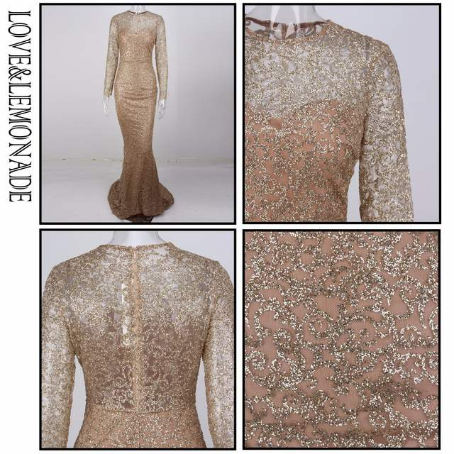 24b4eaf686021 US $56.75 14% OFF|Love&Lemonade Gold Flower Vine Tail Shape Glitter Long  Dresses LM0653-in Dresses from Women's Clothing on Aliexpress.com | Alibaba  ...