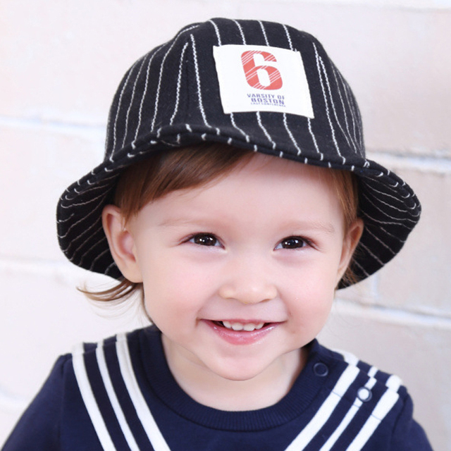 b595b69b248 Striped Baby Hat Autumn Boys Bucket Hat Toddler Baby Girls Hats Winter Kids  Beach Bucket Cap