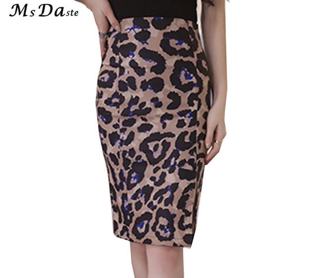 9c459867bcc Pencil Skirts Leopard Print Bodycon Slim Sexy Women High Waist Female Retro  Formal Skirts Summer Saia Work Wear Plus Size S~3XL