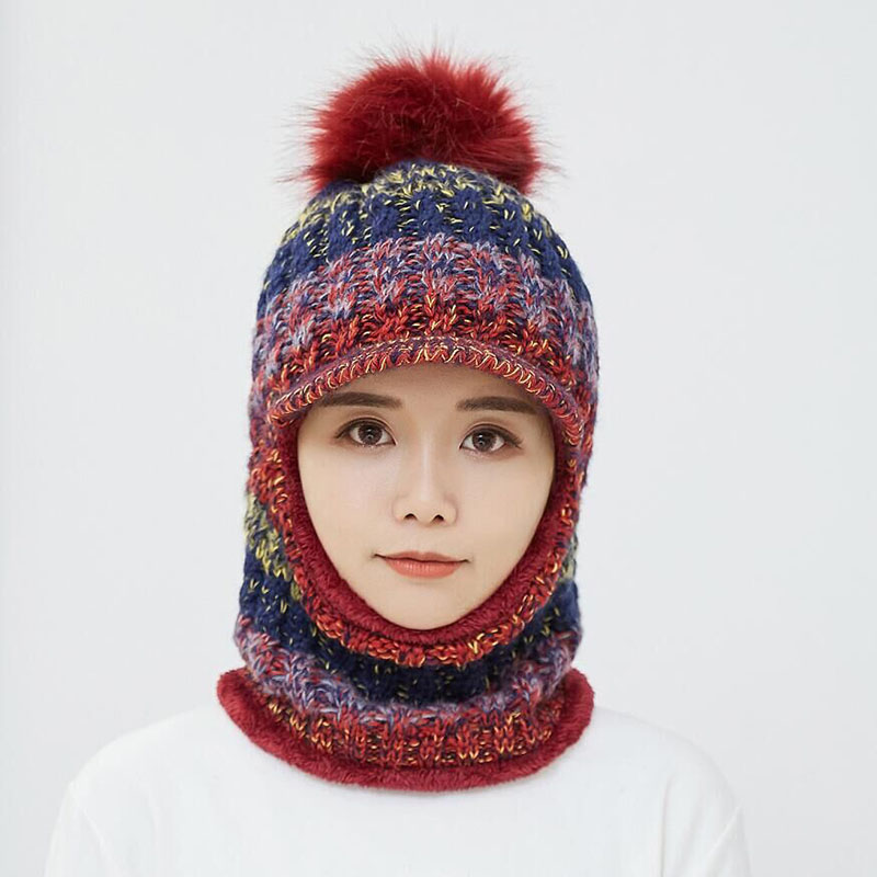 2018 New Fashion Women Thick Balaclava Ski Solid Scarf and Hat Set Cycling Windproof Knitted Mask 1pc Soft Winter Warm Gifts