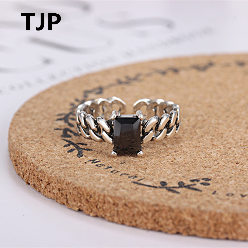 TJP New Fashion 925 Sterling Silver Rings For Women Engagement Party Vintage Black Square Crystal Stones Female Rings Jewelry