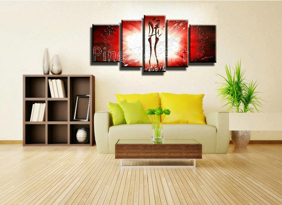 5 piece abstract wall art cheap decorative red hand painted lovers ...