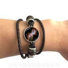 Galaxy Nebula Bracelet Glass Cabochon Solar System 20mm Glass Dome Planet Universe Classic Black/Brown Weave Bangle(China)