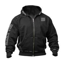 Мужской зимний однотонный пуловер на молнии, теплый толстый свитер с капюшоном и длинными рукавами, Толстовка для бега, фитнеса, упражнений