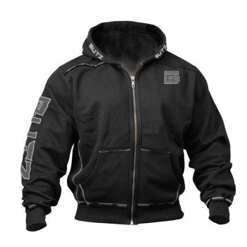 Men's winter solid color stitching zipper pullover warm thick long-sleeved hooded sweatshirt running fitness exercise sweatshirt Sports & Outdoors