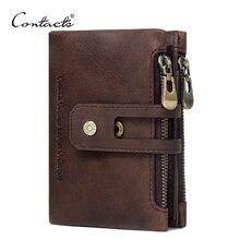 İletİşİm hakiki deri erkek cüzdan küçük erkek cüzdan fermuar çile erkek Portomonee kısa bozuk para cüzdanı marka Perse Carteira Rfid