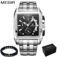 オリジナルビッグダイヤル MEGIR メンズ腕時計クロノグラフクォーツステンレス鋼ブランド時計ビジネス腕時計高級男性リロイ hombre