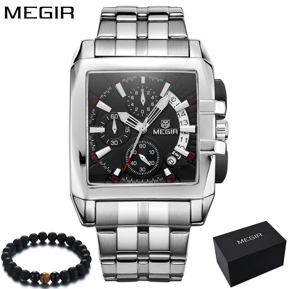 Original Big Dial MEGIR Men Watch Chronograph Quartz Stainless Steel Brand Clock Business Wrist Watch Luxury Men reloj hombre цена