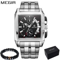 Original Big Dial MEGIR Men Watch Chronograph Quartz Stainless Steel Brand Clock Business Wrist Watch Luxury Men reloj hombre