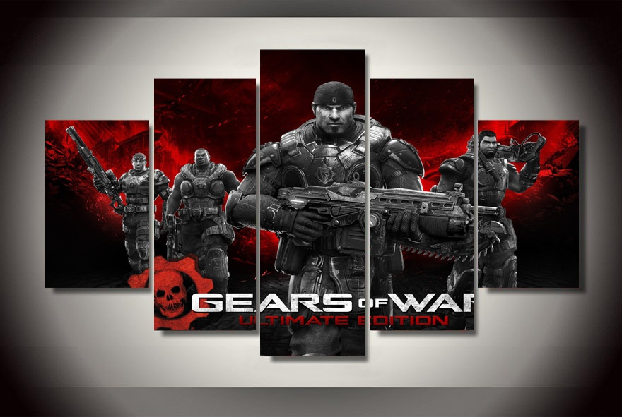5 Panel Canvas Printed Gears Of War Ultimate Edition Painting For Living Room Picture Wall Art Decor Modern Artworks Game Poster