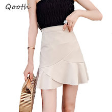 Qooth Preppy Style Mini Skirt Women Trumpet Mermaid Skirt Skort Summer Fashion Brief Beige High Waist Black Short Skirt QH1263 ruched high waist maxi trumpet skirt