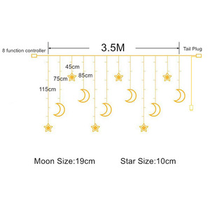Image 2 - 3.5M 138leds Star Moon Led Curtain String Light 220V Romantic Holiday Christmas Garland Lights For Ramadan Wedding Party Decor